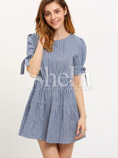 Navy White Plaid Puff Sleeve Flare Dress