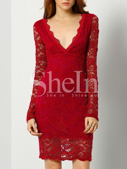 Red Plunge V Back Embroidered Lace Sheath Dress