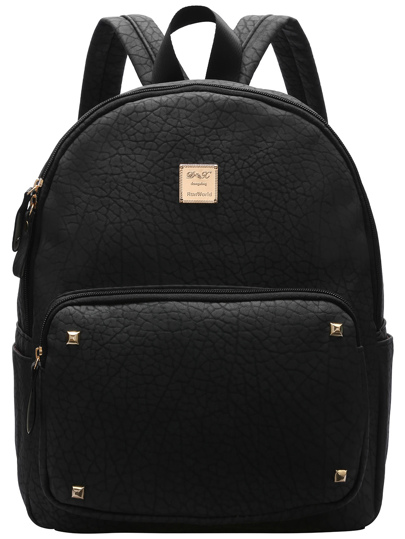 Black Metallic Embellished PU Backpacks