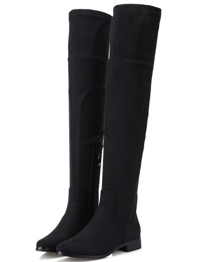 Black Round Toe Zipper Tall Boots