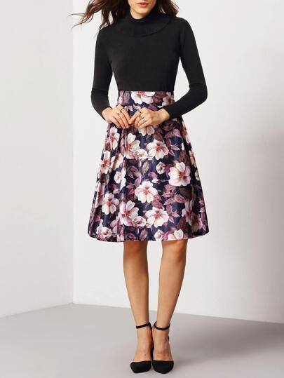 Colour Floral Flare Midi Skirt