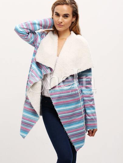 Multicolor Shawl Collar Fleece Lining Coat