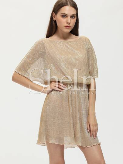 Batwing Sleeve Off The Shoulder Glitter Dress