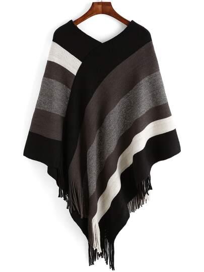 Colour Striped Tassel Loose Cape