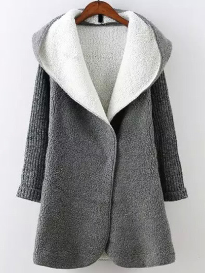 Grey Hooded Long Sleeve Pockets Loose Coat
