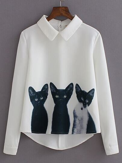 White Lapel Long Sleeve Cats Print Blouse