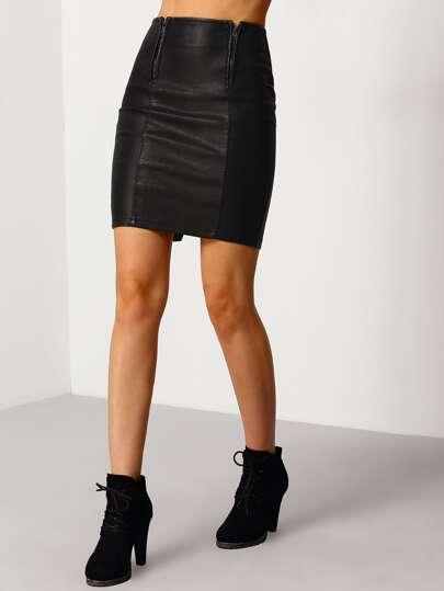 Black Zipper Split PU Skirt