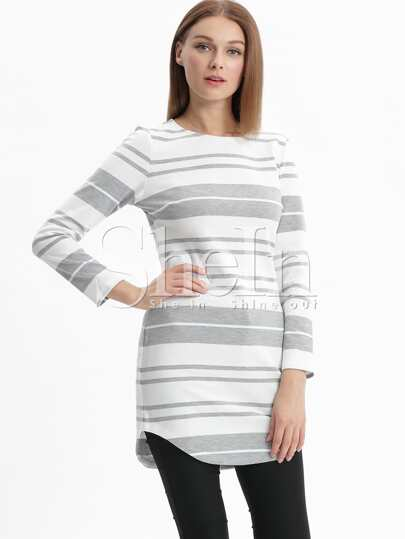 White Grey Striped Side Slit T-shirt Dress
