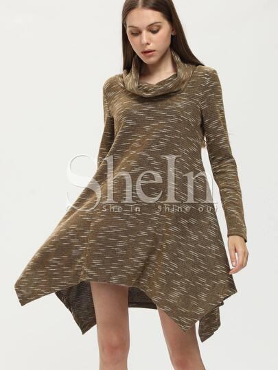 Grey Cowl Neck Asymmetric Dress