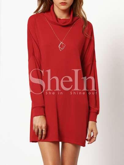 Red High Neck Dropped Shoulder Seam Dress
