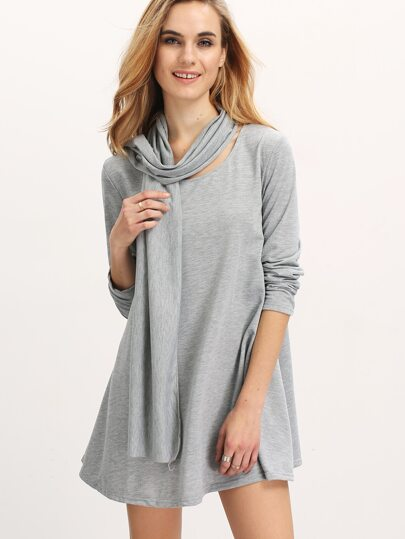 Grey Long Sleeve A Line Dress With Scarve