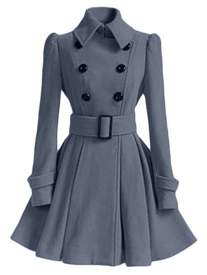 Grey Lapel Double Breasted Belt Coat