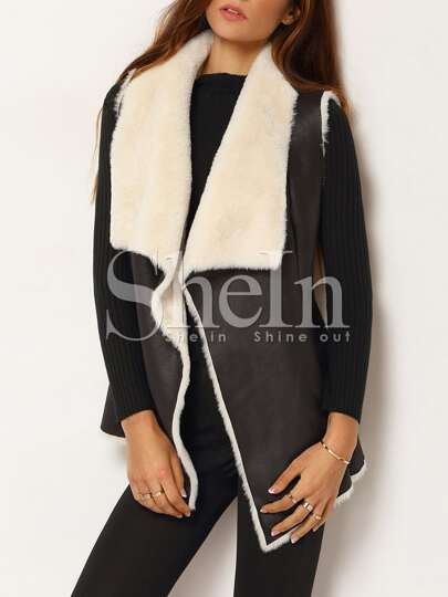 Black Shearling Lined PU Leather Belted Vest