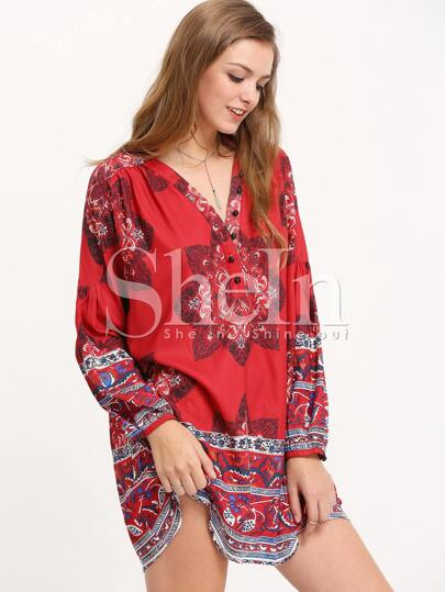 Red Tribal Print Blouson Sleeve Tunic Dress