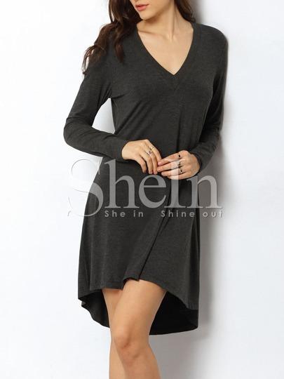 Grey V Neck Dip Hem T-shirt Dress