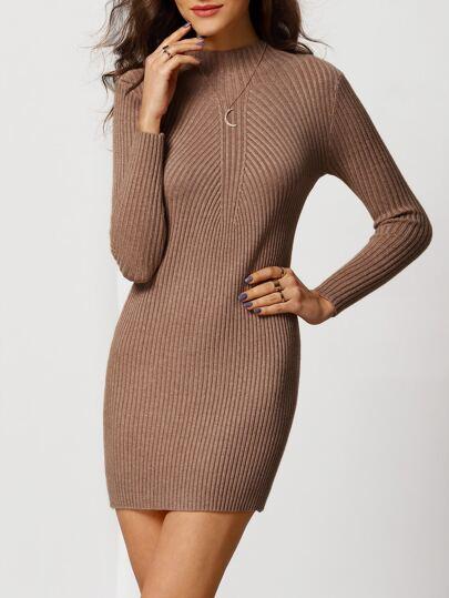 Coffee Mock Neck Slim Bodycon Sweater Dress