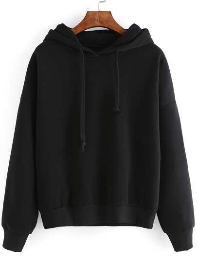 kurzer Kapuzensweatshirt Langarm - schwarz