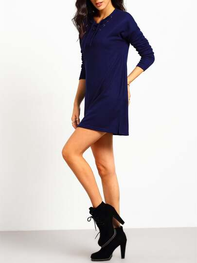Royal Blue Lace Up Split Side Tshirt Dress