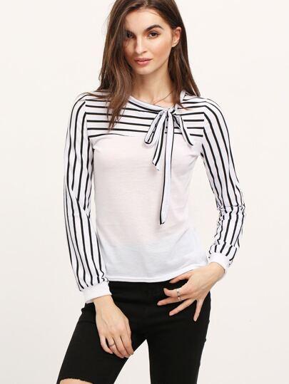 White Bow Collar Striped Slim Blouse