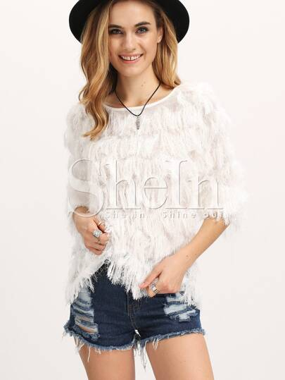 Beige Boat Neck Faux Fur Blouse