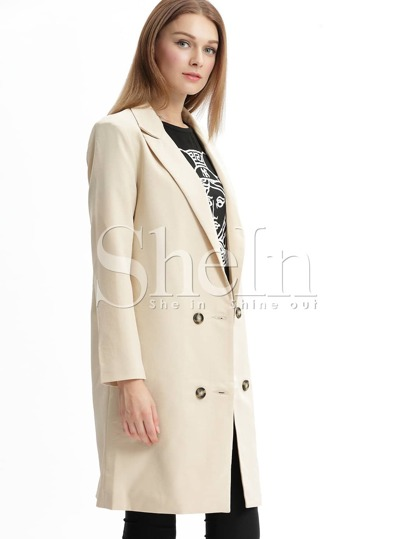 Apricot Notch Lapel Knee Length Coat