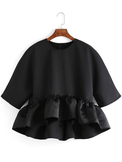 Black Crew Neck Ruffle Dip Hem Blouse
