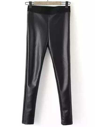 Skinny PU Hose - schwarz