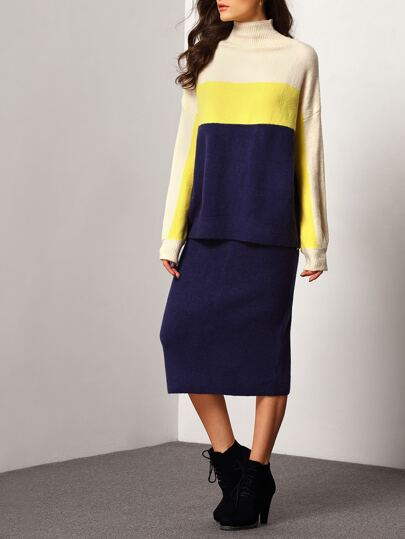 Colour-block Turtleneck Loose Sweater With Skirt