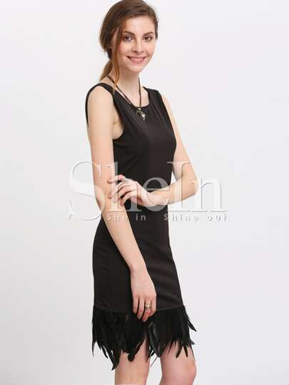 Black Sleeveless Backless Feather Hem Dress