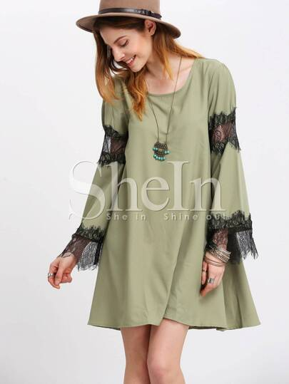 Green Eyelash Lace Inset Detail Swing Dress