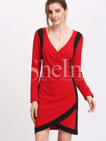 Red Plunge Color Blcok Trims Wrap Dress