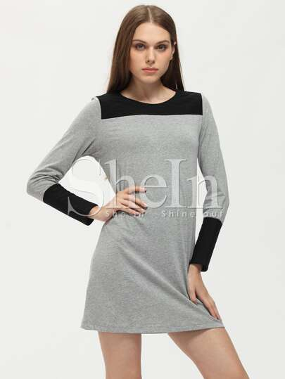 Grey T-Shirt Dress With Contrast Panels
