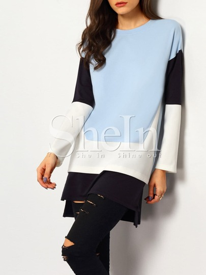 Blue Color Block Dip Hem Dress
