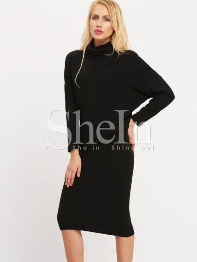 Black High Neck Knee Length Dress