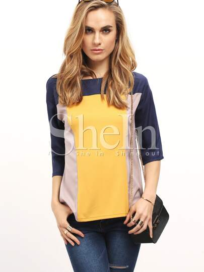 Color Block Elbow Sleeve Top