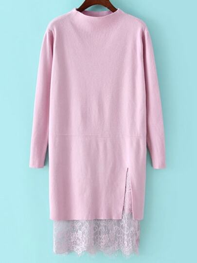 Pink Mock Neck Lace Hem Sweater Dress