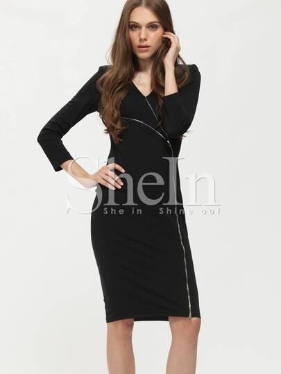 Black Plunge Zipper Knee Length Sheath Dress