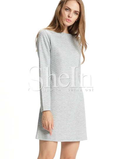 Grey Crew Neck Quilted Shift Dress