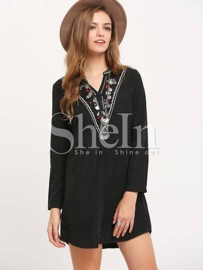 Black Tribal Embroidered Shift Dress