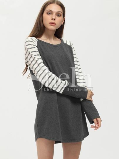 Grey Contrast Raglan Striped Sleeve Dress
