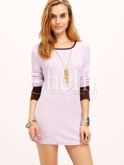 Purple Contrast Cuff Boat Neck T-Shirt