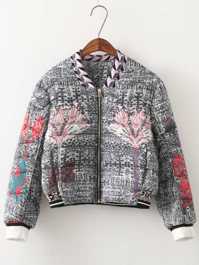 Colour Stand Collar Floral Crop Jacket