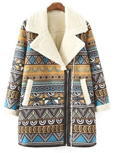 Colour Lapel Zipper Tribal Print Coat