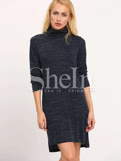 Navy High Neck Side Slit Dress