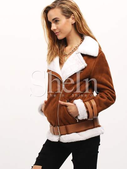 Camel Faux Shearling Lining Suede Buckle Jacket