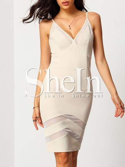 Apricot Spaghetti Strap Sheath Dress With Zag Mesh
