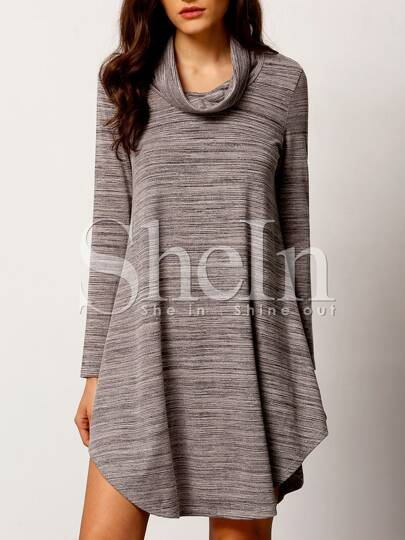 Grey Cowl Neck Curve Hem T-shirt Dress