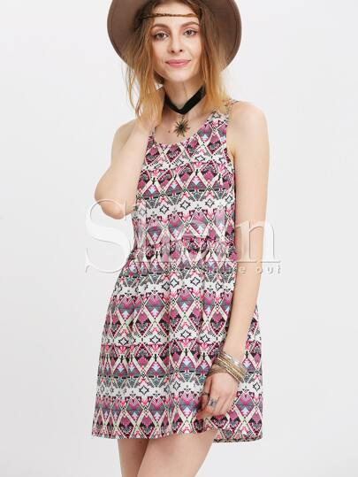 Aztec Print Strap Scoop Neck Dress