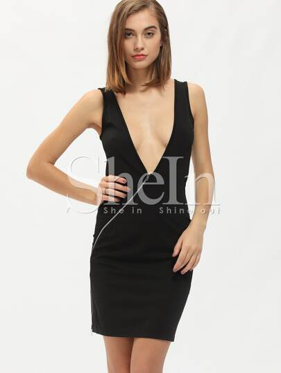 Black Sleeveless Backless Zipper Bodycon Dress