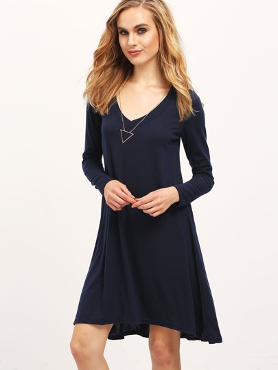 Navy V Neck Tshrit Dress In Jersey